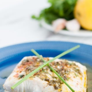 Herb, lemon and garlic wild halibut