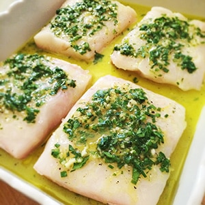 Baked halibut preparation