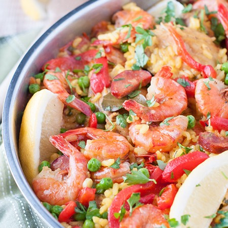 Chicken and Shrimp Paella with Chorizo
