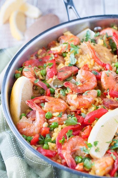 Chicken and Shrimp Paella with Chorizo