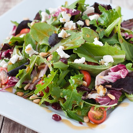 Cranberries and Goat Cheese Salad with Pomegranate Balsamic Vinaigrette