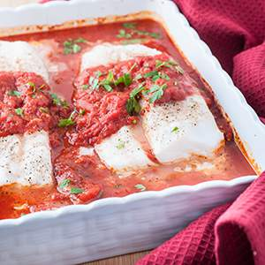 Fresh Cod Baked in Tomato Sauce