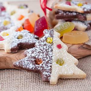 Brownie & Sugar Christmas Tree Cookies with Wine Gums