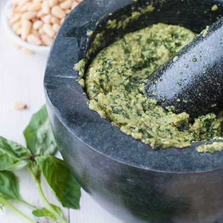 Mortar and Pestle Basil Pesto