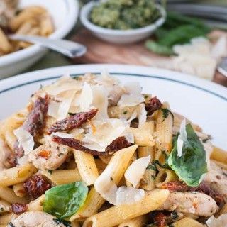 Quick Pesto Chicken Pasta with Sun-Dried Tomatoes