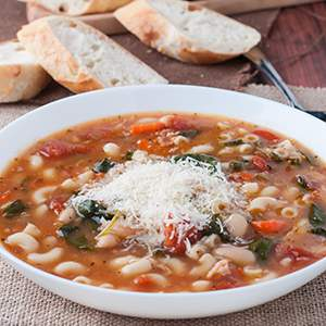 Pasta e Fagioli with Bacon and Spinach