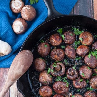 Garlic Butter and Wine Roasted Mushrooms on Cast Iron