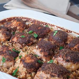 One Dish Baked Chicken Thighs with Rice