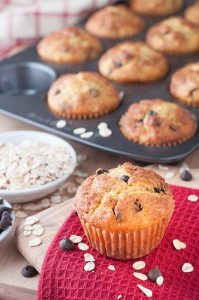 Oatmeal Dark Chocolate Chip Muffins