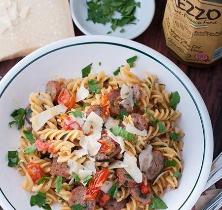 Simple Pasta and Sausage with Oil & Garlic