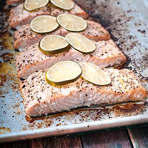 Cracked Peppercorn and Lime Baked Salmon
