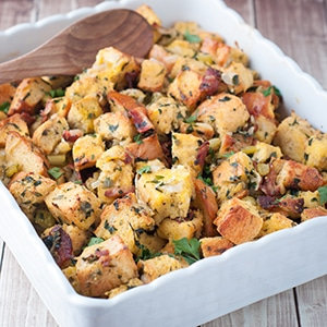 Thanksgiving Stuffing with Fresh Herbs and Bacon