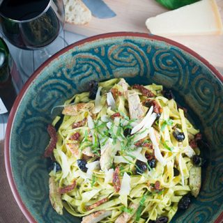 Chicken Pesto Fettuccini with Sun-Dried Tomatoes