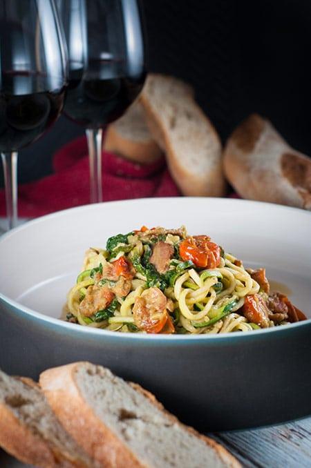 Pesto Spiral Zucchini and Spinach with Pancetta
