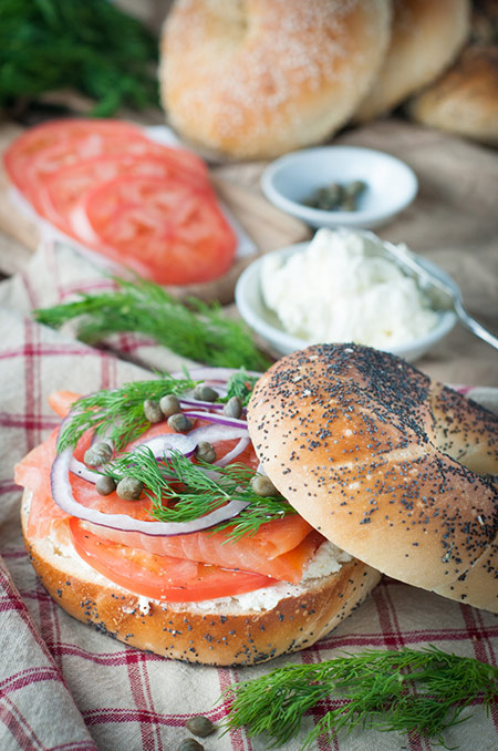 Bagel, Smoked Salmon and Cream Cheese Sandwich