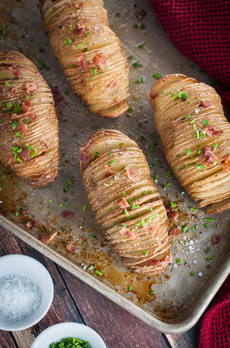 Hasselback Potatoes with Bacon Bits