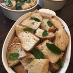 Bread pieces with mint