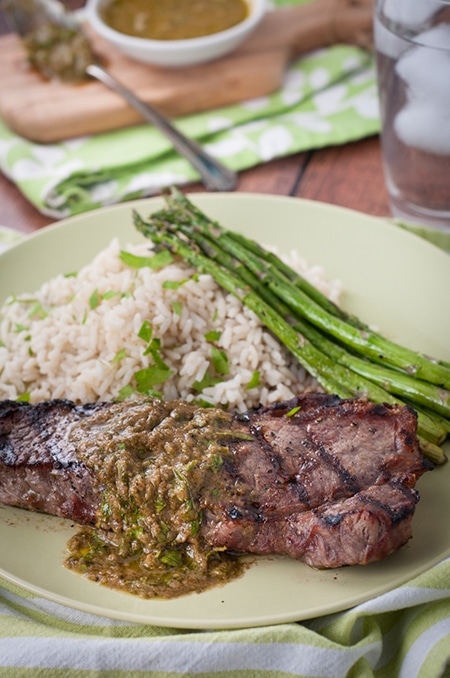 Strip loin steak on the BBQ