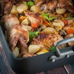 Roast chicken with veggies in a pan