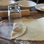 Glass positioned over the dough